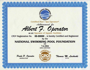 NSPF Certificate example - The Pool People, Cyprus