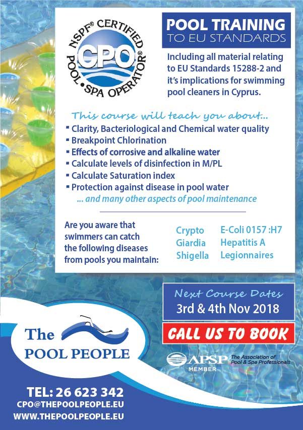 the pool people CPO Training Course 3rd & 4th November 2018